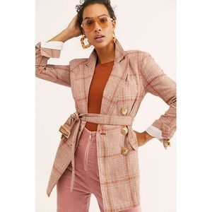 Free People Emily Plaid Linen Belted Blazer S